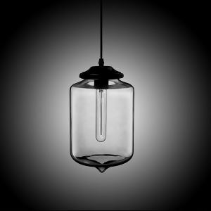 (In Stock) Modern Transparent Glass Pendant Light  Hand Blown Colorful with 1 Light Silver Grey Color Dining Room Lighting Ideas Living Room Bedroom Lighting