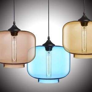 (In Stock) Modern Transparent Glass Pendant Light  Hand Blown Colorful with 1 Light Dining Room Living Room Lighting Bedroom Ceiling Lights
