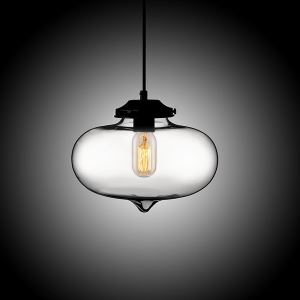(In Stock) Modern Transparent Glass Pendant Light Hand Blown Colorful Bell Shaded with 1 Light Plain Color Dining Room Lighting Ideas Living Room Bedroom Lighting