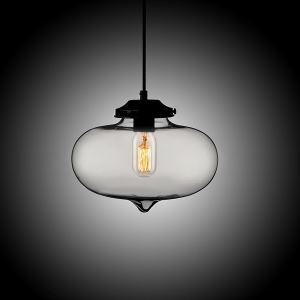 (In Stock) Modern Transparent Glass Pendant Light Hand Blown Colorful Bell Shaded with 1 Light Silver Grey Color Dining Room Lighting Ideas Living Room Bedroom Lighting