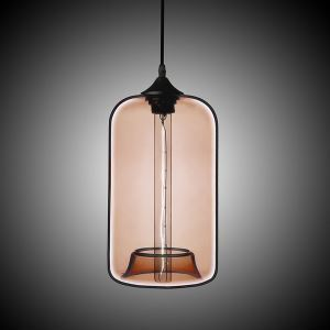 (In Stock) Modern Transparent Glass Pendant Light  Hand Blown Colorful with 1 Light Coffee Color Dining Room Lighting Ideas Living Room Bedroom Lighting