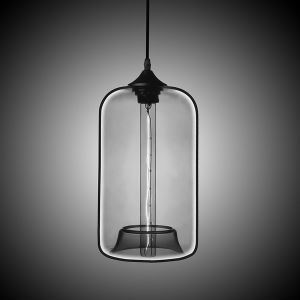 Modern Transparent Glass Pendant Light  Hand Blown Colorful with 1 Light Silver Grey Color Dining Room Lighting Ideas Living Room Bedroom Lighting
