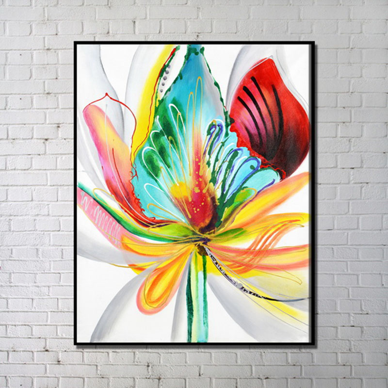 Contemporary Wall Art Colorful Flower Abstract Printing