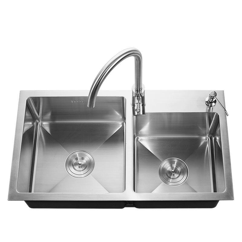 Modern Kitchen Sink 2 Bowls Hand Made Brushed 304