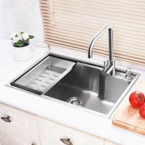 Modern Kitchen Sink Single Bowl Hand-made Brushed # 304 Stainless Steel Sink Topmount Sink (Faucet Not Included)  HM6545L