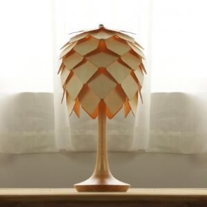 All Wooden Crafted Pinecone Table Accent Lamp