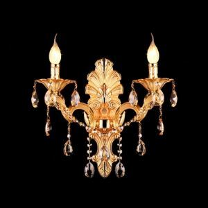 Gold Wall Sconce Contemporary Beautiful Two-light Crystal-accented with Gold Finish and Delicate Canopy