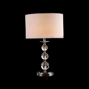 Glamorous Table Lamp Features Three Stacked Crystal Orbs and Topped with White Fabric Drum Shade