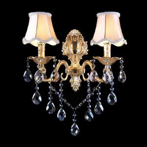 Crystal-beaded Wall Sconce with Delicate Gold Finish Canopy and White Fabric Shades