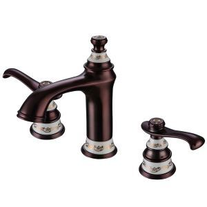 Modern ORB Bathroom Sink Faucet 3-hole Installation Double Handle