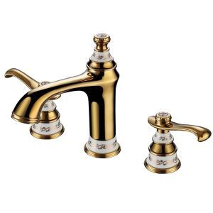 Modern Ti-PVD Bathroom Sink Faucet 3-hole Installation Double Handle