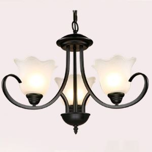 Wrought Iron 3 Light Morning Glory Chandelier in Satin Black Finish