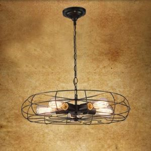 (For Sale) Vintage Retro Ceiling Light Black Hanging Pendant with Cage 5-Light