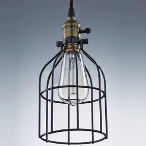 Matte Black 1-Light Mini Pendant with Wire Cage