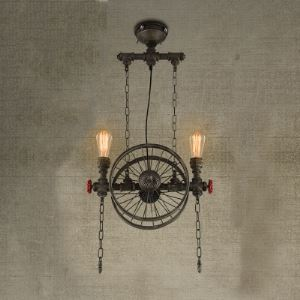 Matte Bronze 2 Light Wheel Industrial Hanging Pendant Lighting