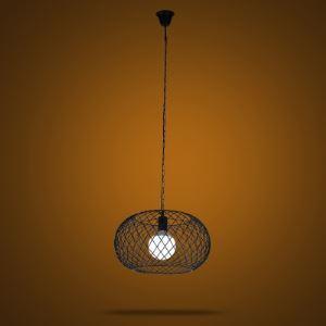 Industrial 1-Light Round Metal Mesh  Foyer Pendant Lighting in Black Finish
