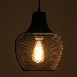 Matte Black 1 Head Foyer Pendant Lighting with Mesh Shade