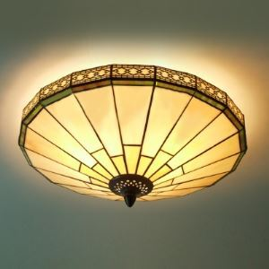 Tiffany Flush Mount Green Mission Pattern 16 inch Flush Mount Ceiling Light in Tiffany Stained Glass Style