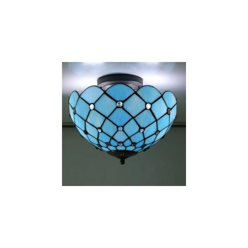 Mediterranean Sea Blue Pattern 12 Inch Semi Flush Mount Ceiling Light In Tiffany Stained Glass