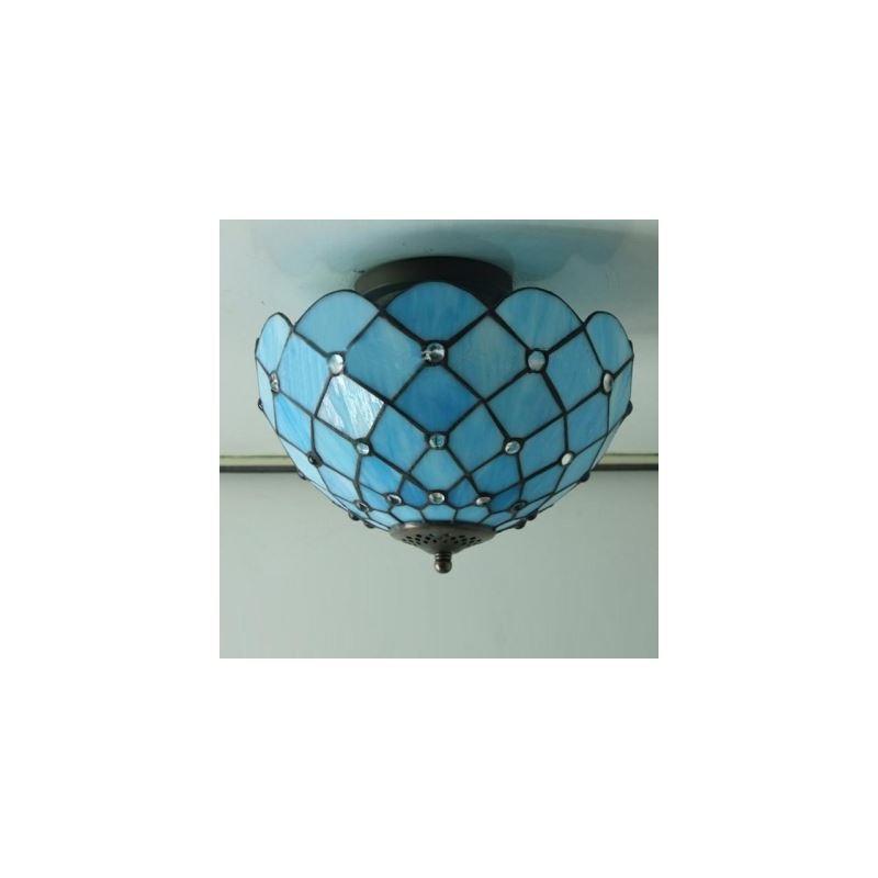 Mediterranean Sea Blue Pattern 12 Inch Semi Flush Mount Ceiling Light In Tiffany Stained Glass
