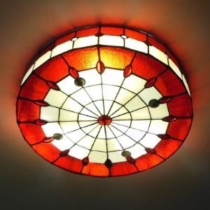 Red Stained Glass 16 Inch Flush Mount Ceiling Light in Tiffany Style