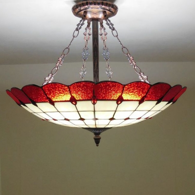 Modern Copper Armed Red Stained Glass Tiffany 5 Light