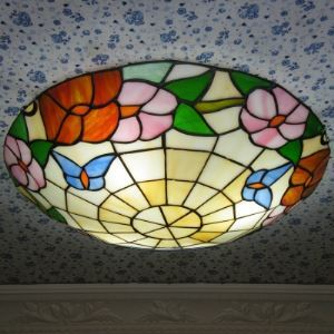 Morning Glory Floral Motif Tiffany Flush Mount Ceiling Light Country Style
