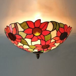 16 Inch  Three Lights Sunflower Tiffany Style Flush Mount Ceiling Light