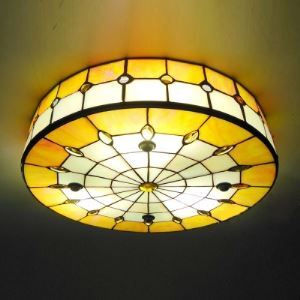 Round Shade 16 Inch Yellow Stained Glass Tiffany 3-light Flush Mount Ceiling Light