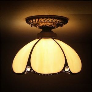 Dome Tiffany Downward Semi Flush Mount Ceiling Light
