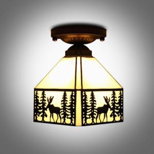 Retro Lodge Pattern 8 Inch Semi Flus Mount Ceiling Light in Tiffany Stained Glass Style