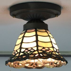 Mini Bell Shade 6 Inch Mini Flush Mount Ceiling Light in Tiffany Stained Glass Style