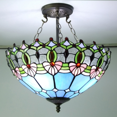 Blue Stained Glass 16 Inch Tiffany 3 Light Semi Flush