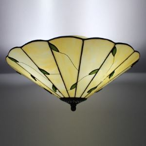 16 Inch Wide Leaf Motif Three-light Tiffany Flush Mount Ceiling Light