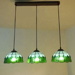 GreenPattern 24 Inch Three-light Hanging Pendant Lighting in Tiffany Stained Glass Style
