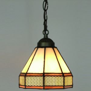 Orange and White Geometric Pattern 5 Inch Mini Hanging Pendant Lighting in Tiffany Stained Glass Style