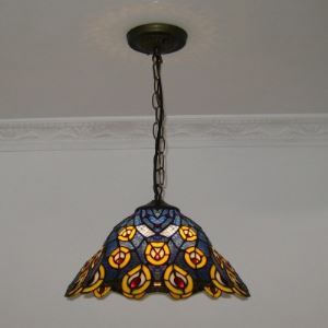 Mystic Blue Peacock Style 16 Inch Wide Tiffany Hanging Pendant Lighting