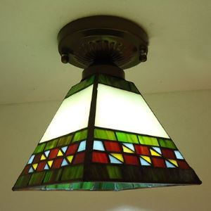 Cone Shade Green and White Stained Glass Tiffany Semi Flush Mount Ceiling Light