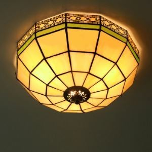 White Stained Glass 12 Inch Tiffany 2-light Flush Mount Ceiling Light