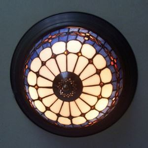 Traditional  12 Inch Flush Mount Ceiling Light in Tiffany Stained Glass Style with Black Edge