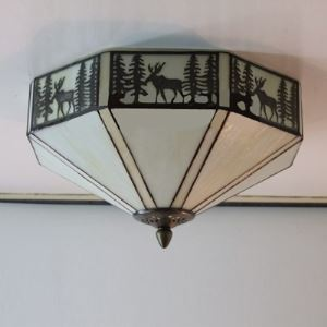 LOdge Style Pattern 12 Inch Semi Flush Mount Ceiling Light in Tiffany Stained Glass Style