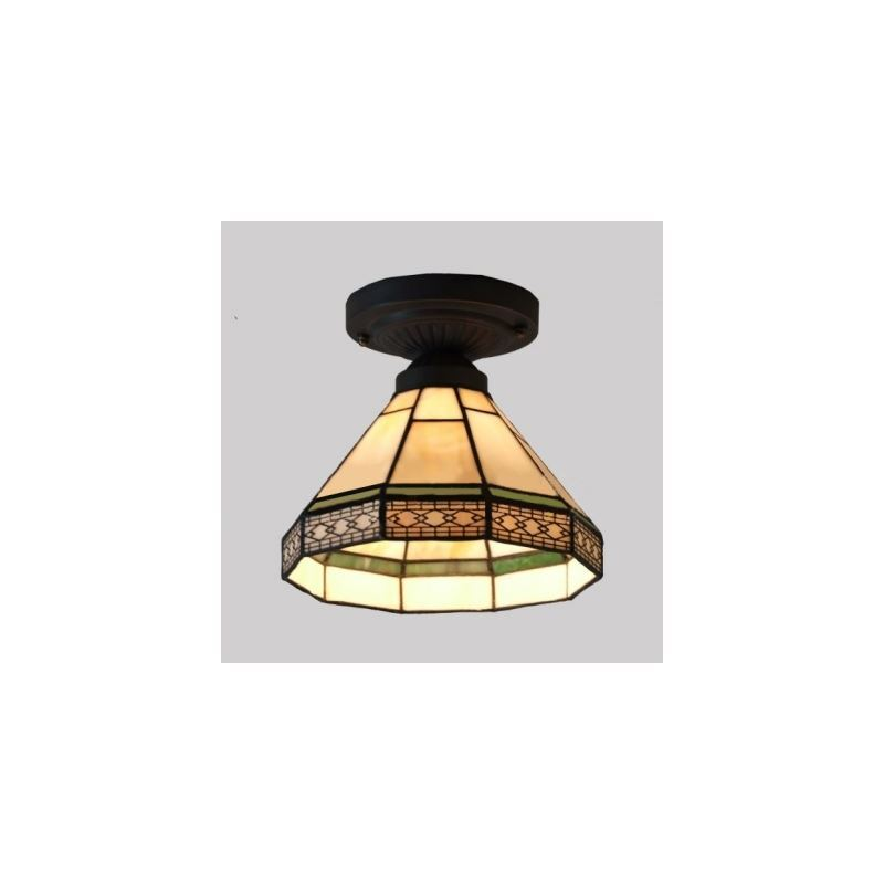 Geometric Pattern 8 Inch Mini Semi Flush Mount Ceiling