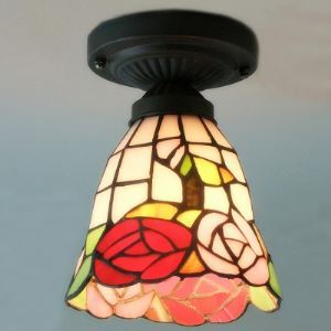 Mini Red Blossom Motif Tiffany Flush Mount Ceiling Light