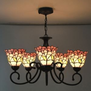 Five-light  Nature Inspired 24 Inch Pink Stained Glass Tiffany Chandelier Ceiling Light
