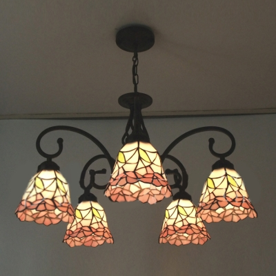 Five Light Nature Inspired 24 Inch Pink Stained Gl Tiffany Chandelier Ceiling Homelava