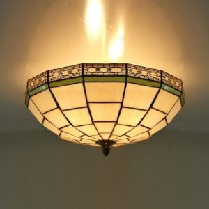 16 Inch White Stained Glass Green Edge Tiffany 3-light Flush Mount Ceiling Light