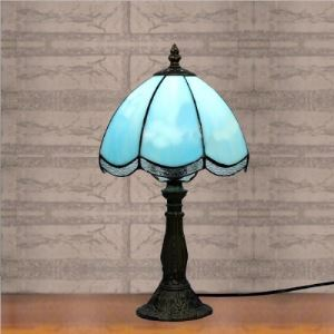 8 Inch Blue Stained Glass Tiffany Style One-light Bedside Table Lamp