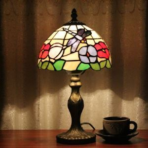 Country Style Bedside 8 Inch Wide Tiffany Desk Lamp with Dragonfly Pattern