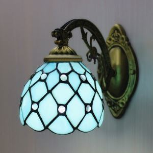 Bronze Armed Blue Stained Glass Tiffany One-light Wall Sconce