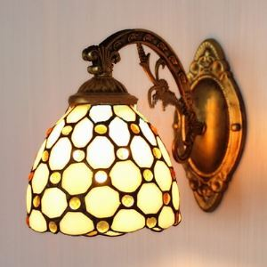 Beige Color Beads 5 Inch Wall Sconce in Tiffany Stained Glass Style